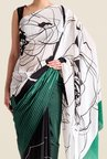 Satya Paul Green & Black Crepe Saree