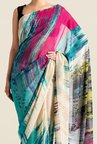 Satya Paul Blue & Beige Super Georgette Saree