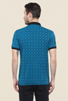 Mufti Blue Printed Polo T Shirt