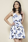 New Look White & Blue Floral Print Dress