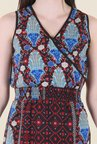 Hotberries Red & Blue Abstract Print Dress