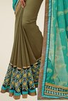 Shonaya Olive & Turquoise Embroidered Georgette Saree