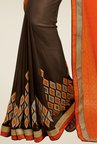 Shonaya Brown & Orange Embroidered Georgette Saree