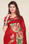Ishin Red Faux Georgette Floral Print Saree