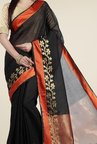 Jashn Black & Orange Floral Print Saree