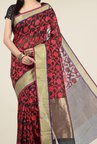 Jashn Black & Red Floral Print Saree