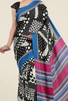 Jashn Black and Pink Geometric Print Saree
