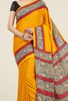 Jashn Mustard and Red Printed Saree