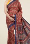 Jashn Red Floral Print Saree