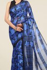 Jashn Royal Blue Floral Print Brasso Saree