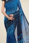 Jashn Blue & Black Printed Georgette Saree