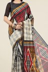 Jashn Beige and Red Geometric Print Saree