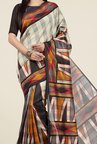 Jashn Beige and Black Geometric Print Saree