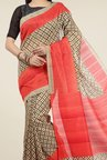 Jashn Beige and Red Printed Saree