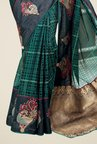 Triveni Green Printed Brasso Saree