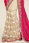Triveni Beige & Pink Embroidered Art Silk Lycra Saree