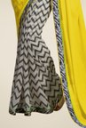 Triveni Off White & Yellow Printed Faux Georgette Saree