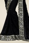 Triveni Fashionable Black Faux Georgette Saree