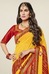 Triveni Graceful Red & Yellow Faux Georgette Saree