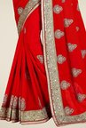 Triveni Glamorous Red Faux Georgette Saree