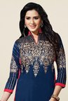 Triveni Stylish Blue & Red Bhagalpuri Silk Dress Material