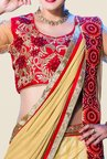 Occeanus Beige Embroidered Net Lehenga Set