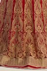Occeanus Red Embroidered Net Lehenga Set