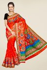 Pavecha's Orange Mangalagiri Brasso Net Fashion Saree