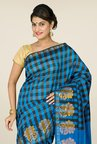 Pavecha's Blue & Black Banarasi Cotton Silk Saree