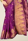 Pavecha's Purple Banarasi Cotton Silk Zari Saree