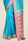 Pavecha's Blue Banarasi Cotton Silk Printed Saree