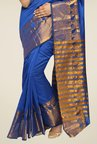 Pavecha's Blue Banarasi Cotton Silk Zari Saree
