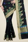 Pavecha's Black Banarasi Printed Cotton Silk Saree