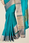 Pavecha's Teal Banarasi Cotton Silk Party Saree