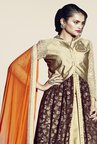 Triveni Gold & Brown Embroidered Lehenga Set