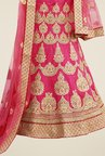 Triveni Pink Embroidered Short Sleeve Lehenga Set