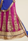 Triveni Magenta & Gold Embroidered Lehenga Set