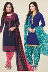 Salwar Studio Navy & Blue Dress Material (Pack Of 2)
