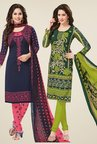 Salwar Studio Navy & Green Dress Material (Pack Of 2)