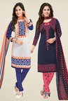 Salwar Studio White & Navy Dress Material (Pack Of 2)
