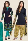 Salwar Studio Navy Dress Material (Pack Of 2)