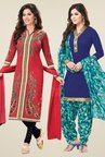 Salwar Studio Coral & Blue Dress Material (Pack Of 2)