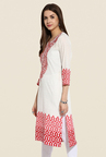 Mytri White & Pink Embroidered Kurta