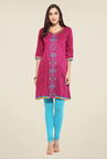 Mytri Magenta Embroidered Kurti