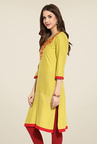 Mytri Yellow Embroidered Kurti