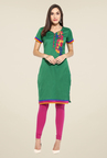 Mytri Green Embroidered Kurti