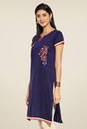 Mytri Navy Embroidered Kurti