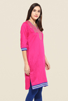 Mytri Pink Embroidered Kurti