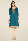 Mytri Teal Embroidered Kurti