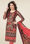 Salwar Studio Brown & Peach Dress Material with Dupatta